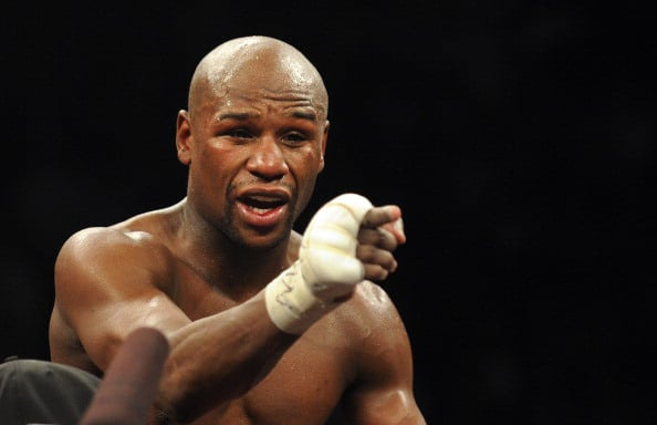 US boxer Floyd Mayweather gestures to th