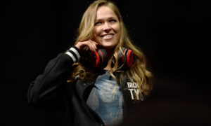 LAS VEGAS, NV - FEBRUARY 21:  UFC Women's Bantamweight Champion Ronda Rousey walks on stage during UFC 170 weigh-in event on February 21, 2014 in Las Vegas, Nevada. (Photo by Jeff Bottari/Zuffa LLC/Zuffa LLC via Getty Images)